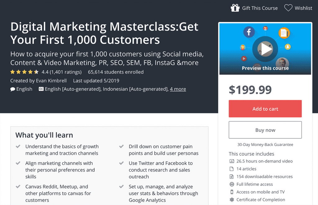 digital marketing masterclass get your first image